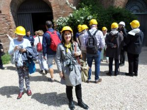 Margaret about to enter the Golden House with archaeological tour
